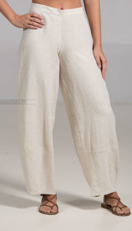 Pantalon Bulle de lino color natural Pantalones
