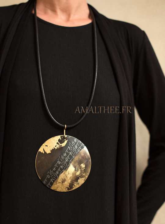 Stunning contemporary oxidized brass disc with gold leaf  and original calligraphy Joyas