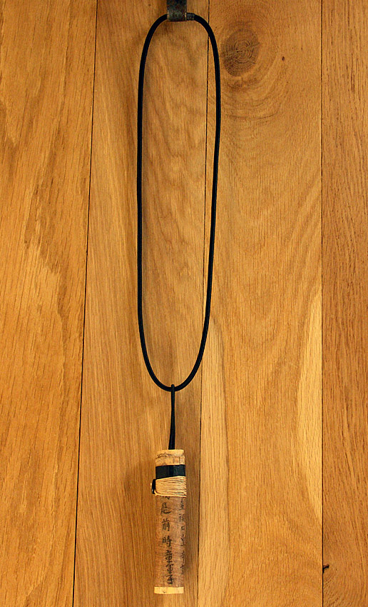 Pendant necklace: bamboo necklace with calligraphy Joyas