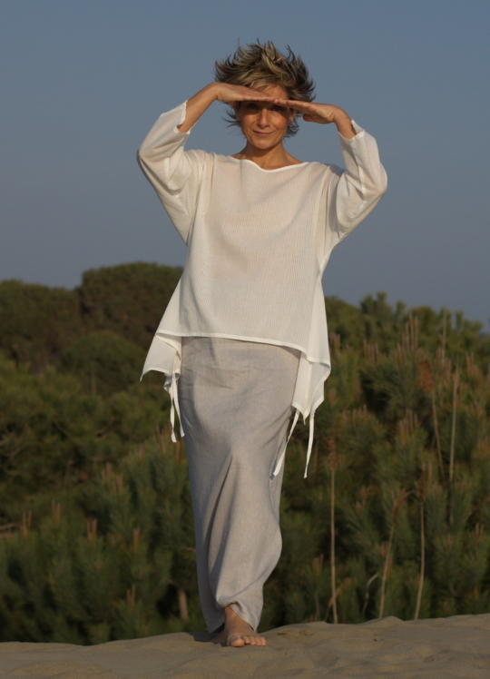 White cotton veil top and  ice blue linen sarouel/skirt Looks