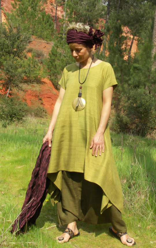 Set in raw silk: Lime green tunic and harem pants Looks