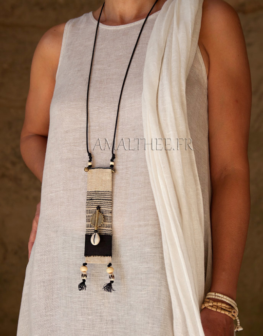 Ethnic textile jewelry with african beads Joyas