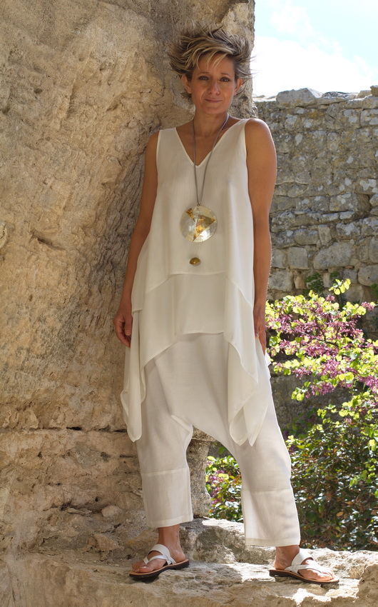 white loose fit layered silk top with linen harem pants Looks