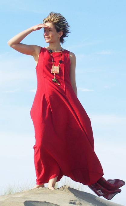 Dress  made of silk and linen  red color Looks