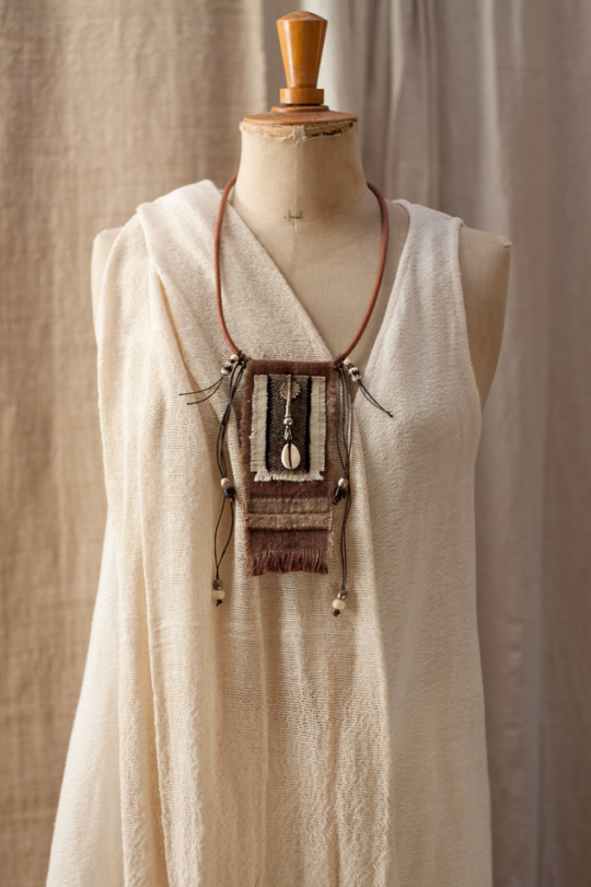 Upcycled handyed vintage french linen necklace Joyas