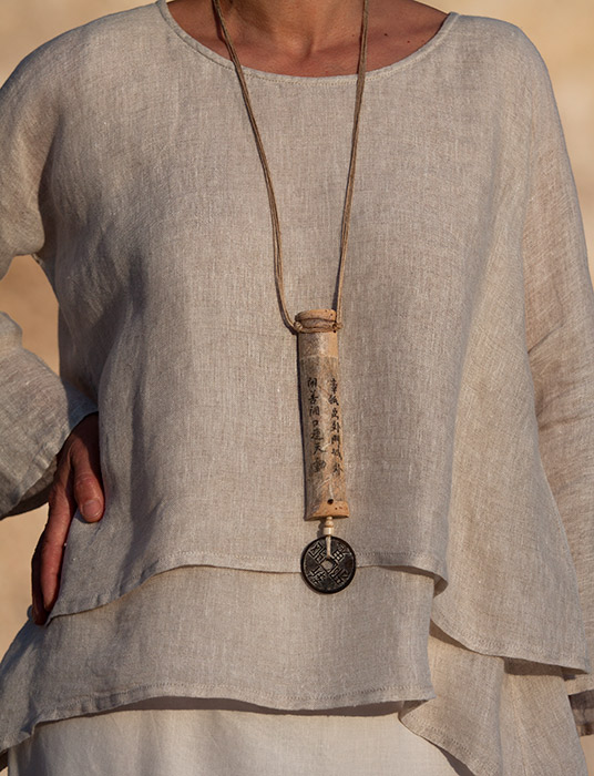 Zen bamboo necklace with chinese lucky coin Joyas