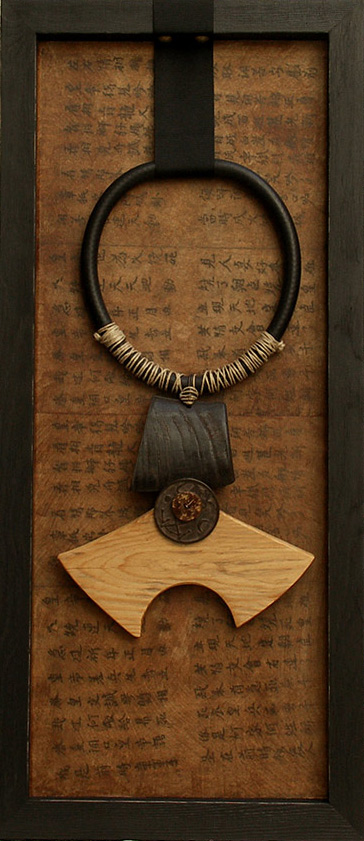 Ethnic necklace framed made of horn and wood Joyas