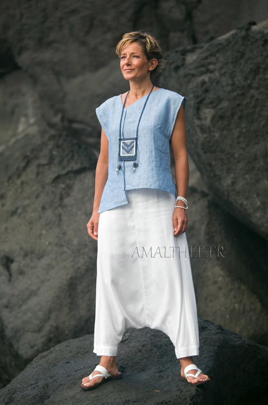 White and blue Casual linen outfit for holidays Looks